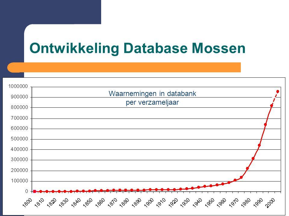 Ontwikkeling Database Mossen Waarnemingen in databank per verzameljaar