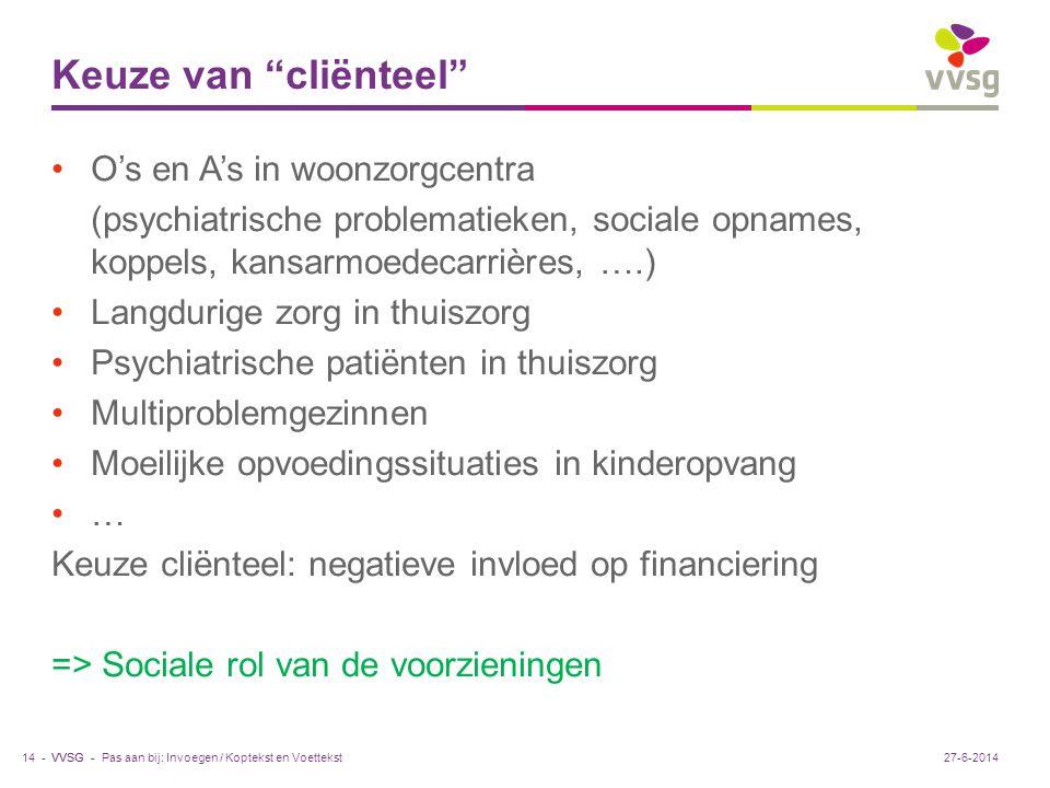 """VVSG - Keuze van """"cliënteel"""" •O's en A's in woonzorgcentra (psychiatrische problematieken, sociale opnames, koppels, kansarmoedecarrières, ….) •Langdu"""