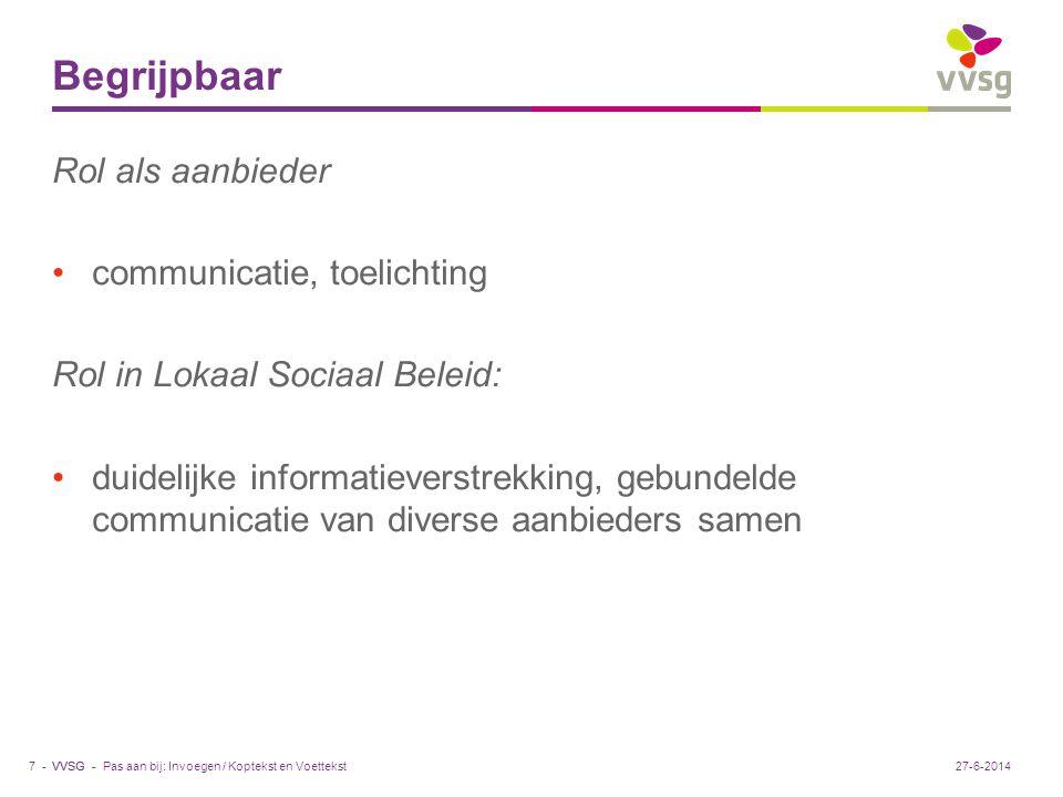 VVSG - Begrijpbaar Rol als aanbieder •communicatie, toelichting Rol in Lokaal Sociaal Beleid: •duidelijke informatieverstrekking, gebundelde communica