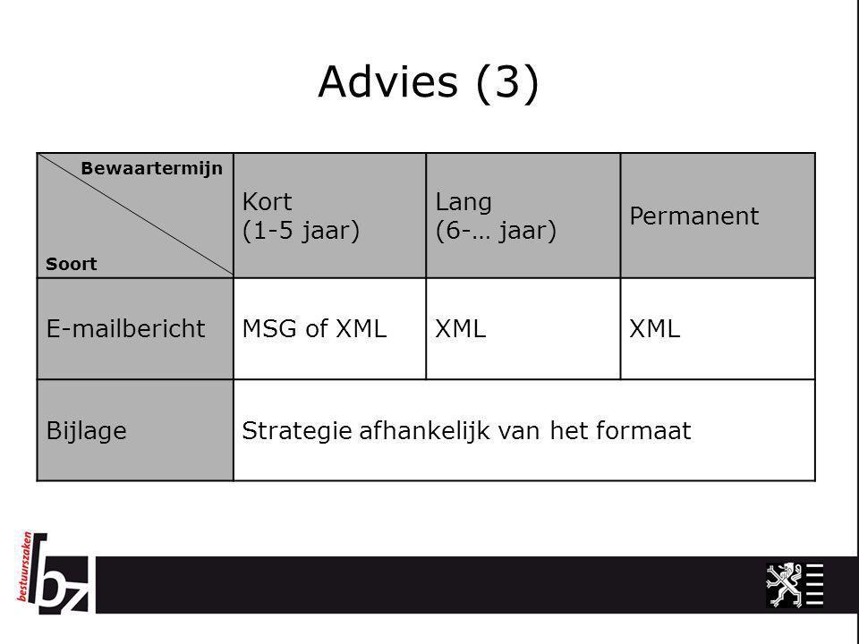 Advies (3) Bewaartermijn Soort Kort (1-5 jaar) Lang (6-… jaar) Permanent E-mailberichtMSG of XMLXML BijlageStrategie afhankelijk van het formaat