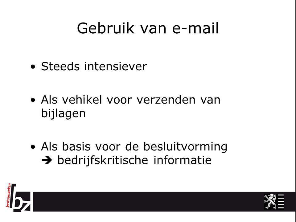 Gebruik van e-mail •Steeds intensiever •Als vehikel voor verzenden van bijlagen •Als basis voor de besluitvorming  bedrijfskritische informatie