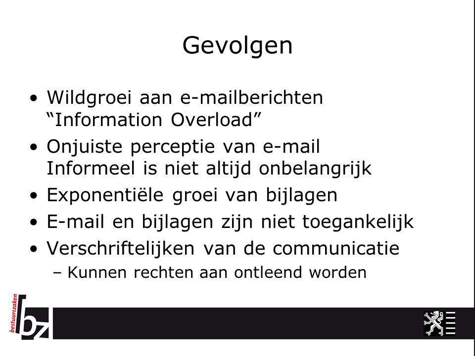 """Gevolgen •Wildgroei aan e-mailberichten """"Information Overload"""" •Onjuiste perceptie van e-mail Informeel is niet altijd onbelangrijk •Exponentiële groe"""