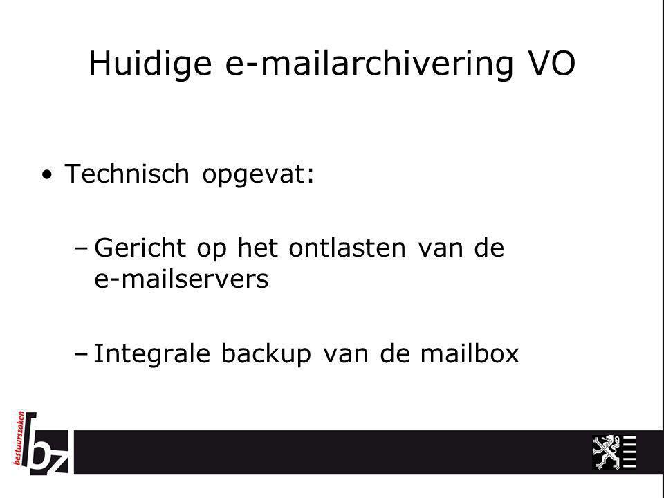 Huidige e-mailarchivering VO •Technisch opgevat: –Gericht op het ontlasten van de e-mailservers –Integrale backup van de mailbox