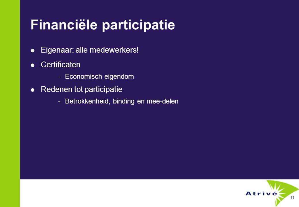 11 Financiële participatie  Eigenaar: alle medewerkers.