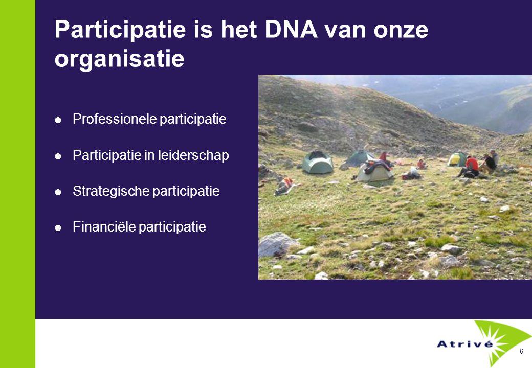 6 Participatie is het DNA van onze organisatie  Professionele participatie  Participatie in leiderschap  Strategische participatie  Financiële participatie