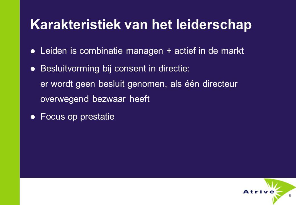 9 Karakteristiek van het leiderschap  Leiden is combinatie managen + actief in de markt  Besluitvorming bij consent in directie: er wordt geen besluit genomen, als één directeur overwegend bezwaar heeft  Focus op prestatie