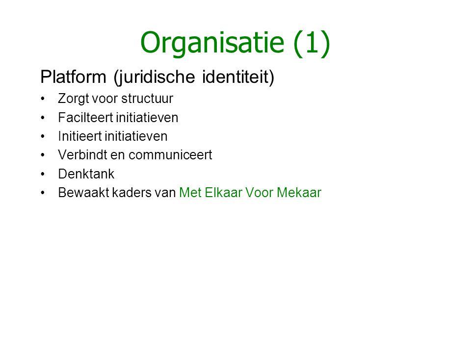 Organisatie (1) Platform (juridische identiteit) •Zorgt voor structuur •Facilteert initiatieven •Initieert initiatieven •Verbindt en communiceert •Den