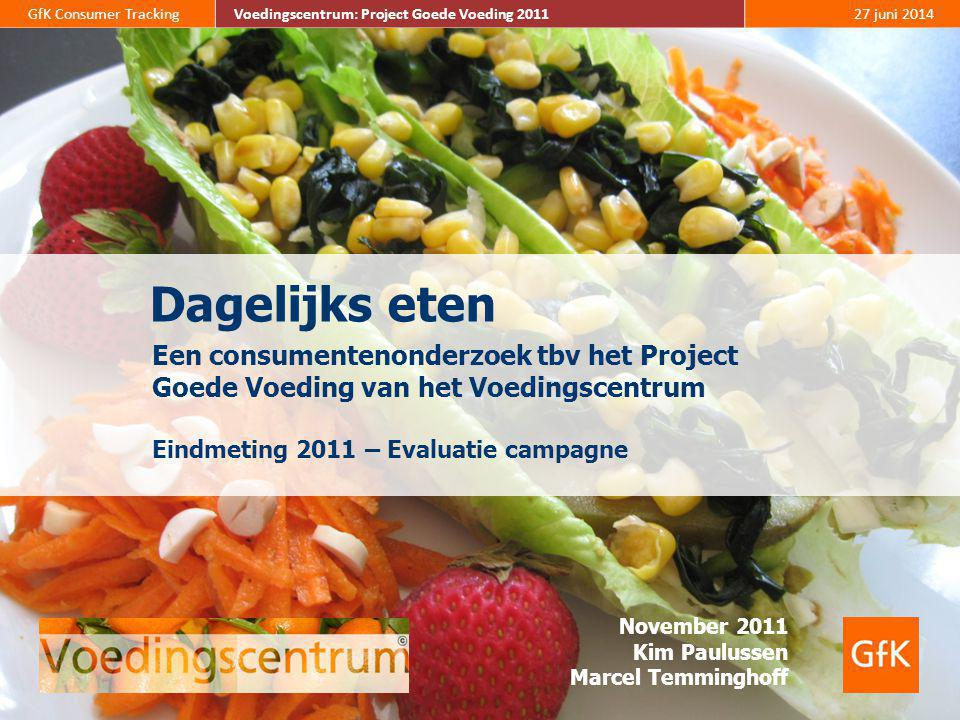 82 GfK Consumer Tracking Voedingscentrum: Project Goede Voeding 2011 27 juni 2014 Voedingscentrum: Project Goede Voeding 2011 De smaak is het belangrijkst bij de aankoop van voedingsmiddelen, gevolgd door de versheid van voedingsmiddelen.