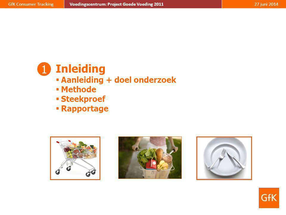 GfK Consumer TrackingVoedingscentrum: Project Goede Voeding 201127 juni 2014 Inleiding  Aanleiding + doel onderzoek  Methode  Steekproef  Rapporta