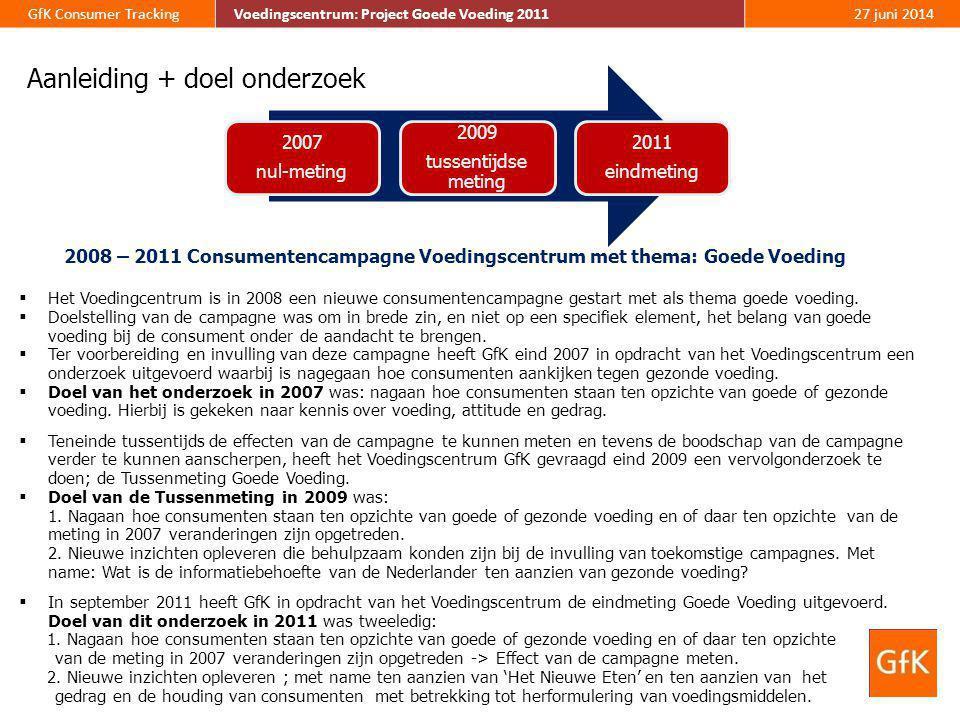 5 GfK Consumer Tracking Voedingscentrum: Project Goede Voeding 2011 27 juni 2014 Methode  In verband met een vergelijking van de resultaten is de opzet van het onderzoek, qua methode, samenstelling van de steekproef en vraagstelling zoveel mogelijk identiek aan de metingen in 2007 en 2009.