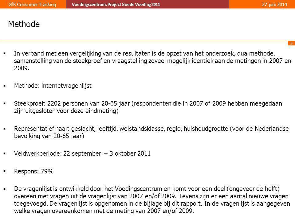 36 GfK Consumer Tracking Voedingscentrum: Project Goede Voeding 2011 27 juni 2014 Voedingscentrum: Project Goede Voeding 2011 17% geeft aan eigenlijk niet te weten wat er in de Schijf van Vijf staat, dit is minder dan in 2007 (21%).