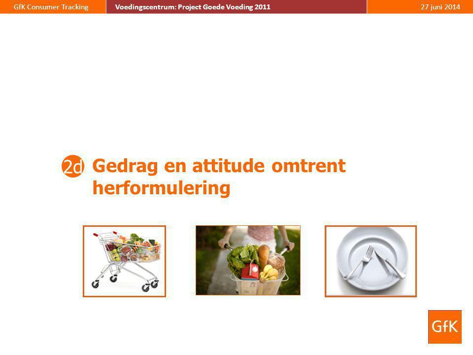 GfK Consumer TrackingVoedingscentrum: Project Goede Voeding 201127 juni 2014 Gedrag en attitude omtrent herformulering 2d