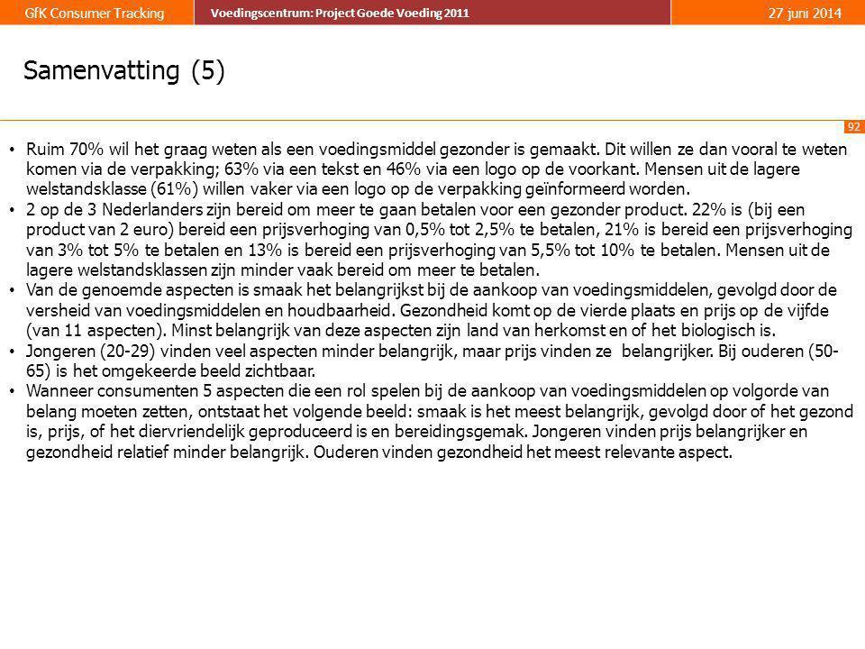 92 GfK Consumer Tracking Voedingscentrum: Project Goede Voeding 2011 27 juni 2014 Voedingscentrum: Project Goede Voeding 2011 Samenvatting (5) • Ruim