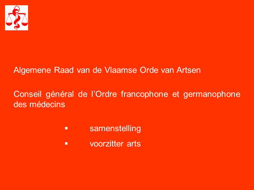 Algemene Raad van de Vlaamse Orde van Artsen Conseil général de l'Ordre francophone et germanophone des médecins  samenstelling  voorzitter arts