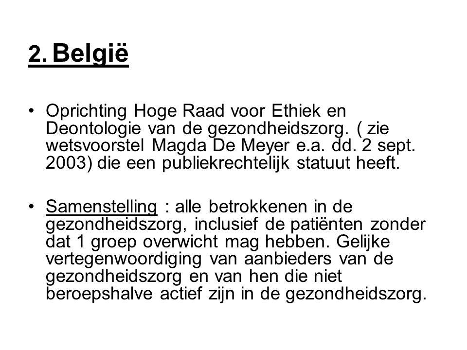 2. België •Oprichting Hoge Raad voor Ethiek en Deontologie van de gezondheidszorg.