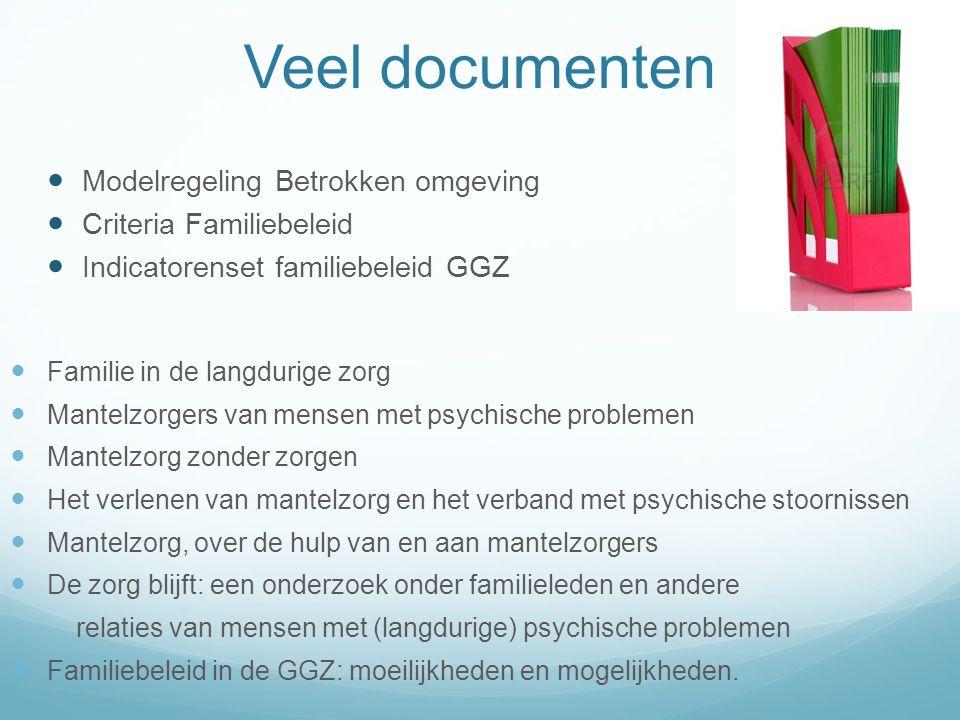 Veel documenten  Modelregeling Betrokken omgeving  Criteria Familiebeleid  Indicatorenset familiebeleid GGZ  Familie in de langdurige zorg  Mante