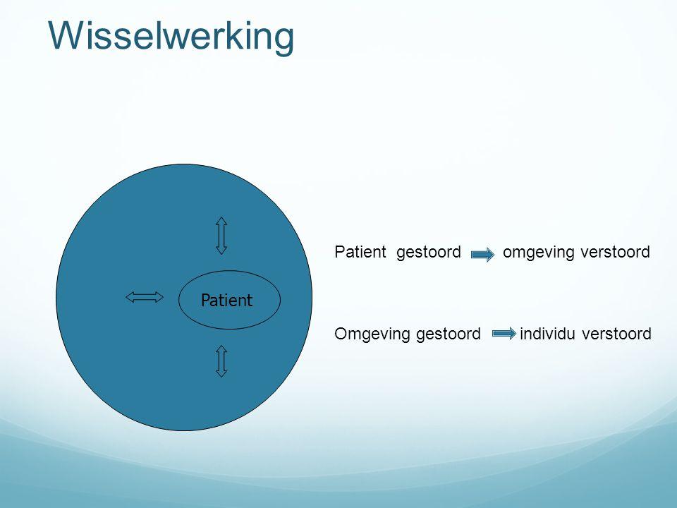 Wisselwerking Patient Patient gestoord omgeving verstoord Omgeving gestoord individu verstoord