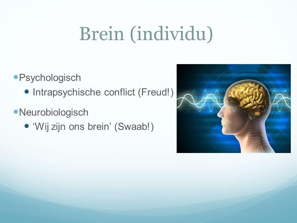 Brein (individu)  Psychologisch  Intrapsychische conflict (Freud!)  Neurobiologisch  'Wij zijn ons brein' (Swaab!)