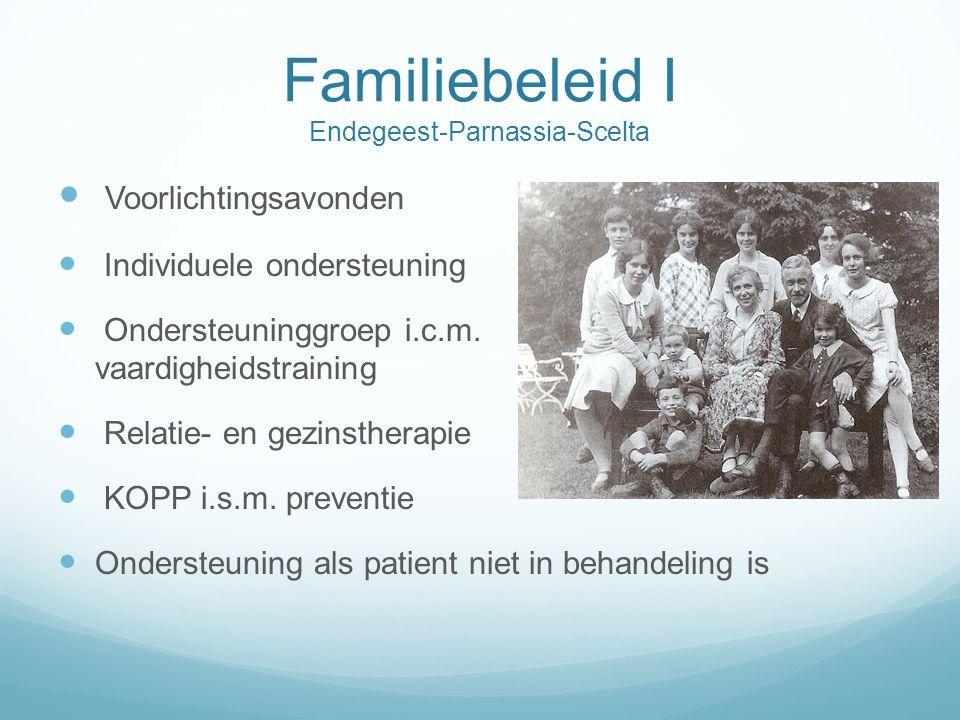 Familiebeleid II Endegeest-Parnassia-Scelta  Beleid Scelta (GGNet)  Binnen 6-8 weken in kaart gebracht/gesproken  Netwerkfunctionarissen  Sociale netwerk analyse