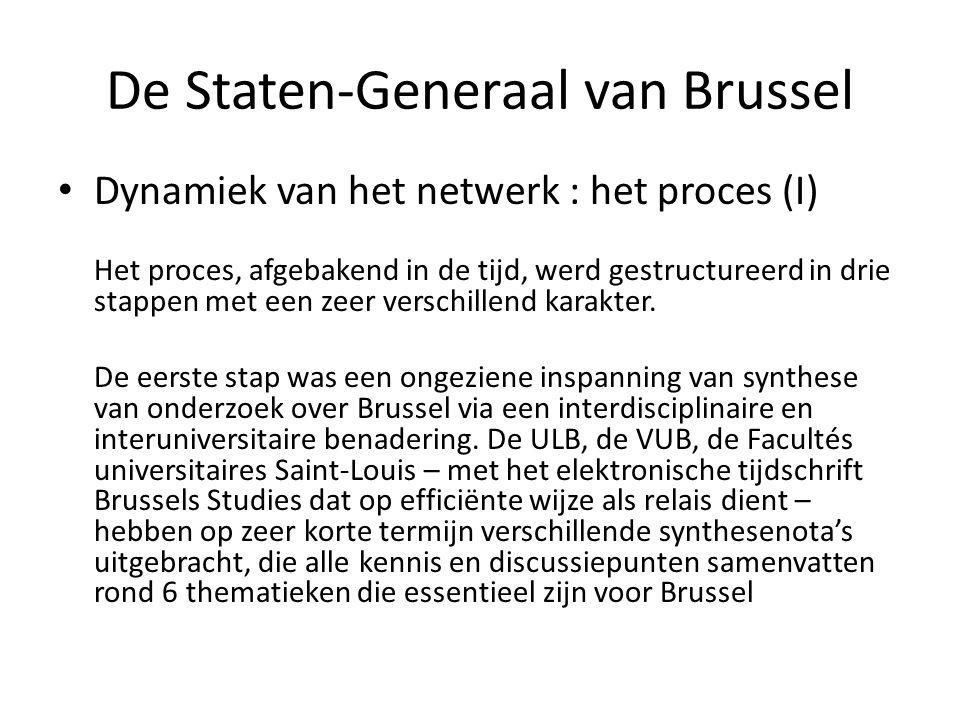 De Staten-Generaal van Brussel • Dynamiek van het netwerk : het proces (II) De tweede stap bestond erin het woord te geven aan de civiele maatschappij tijdens publieke debatten (zestien in totaal en twee verslag- en synthesesessies).