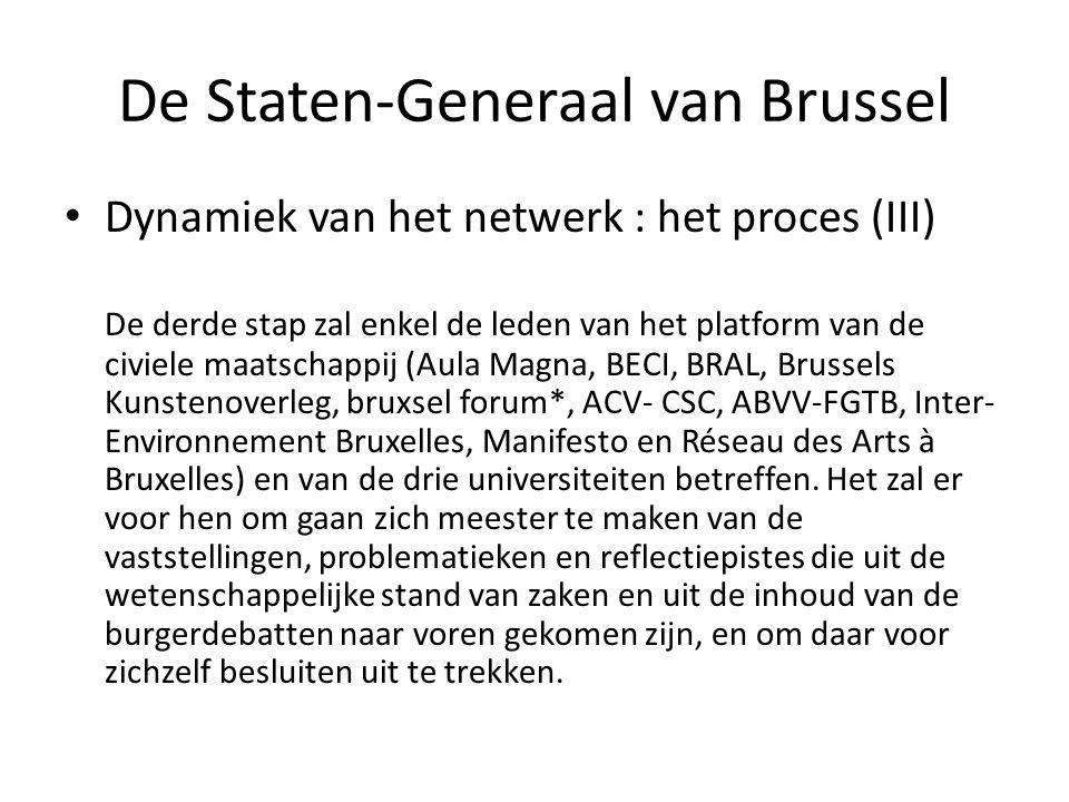 De Staten-Generaal van Brussel • Dynamiek van het netwerk : het proces (III) De derde stap zal enkel de leden van het platform van de civiele maatschappij (Aula Magna, BECI, BRAL, Brussels Kunstenoverleg, bruxsel forum*, ACV- CSC, ABVV-FGTB, Inter- Environnement Bruxelles, Manifesto en Réseau des Arts à Bruxelles) en van de drie universiteiten betreffen.