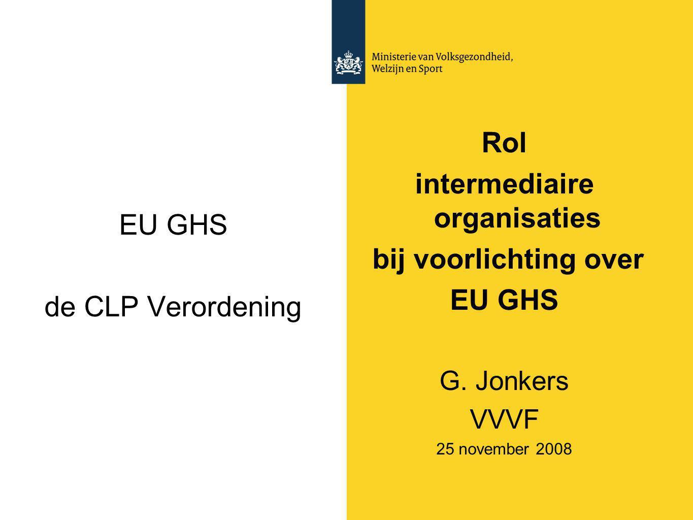 EU GHS de CLP Verordening Rol intermediaire organisaties bij voorlichting over EU GHS G. Jonkers VVVF 25 november 2008