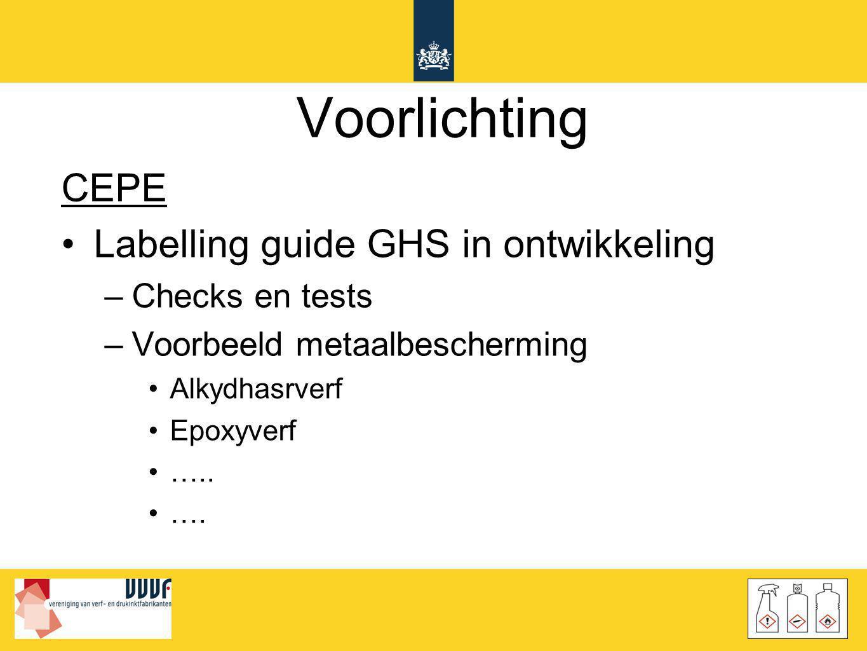Voorlichting CEPE •Labelling guide GHS in ontwikkeling –Checks en tests –Voorbeeld metaalbescherming •Alkydhasrverf •Epoxyverf •….. •….