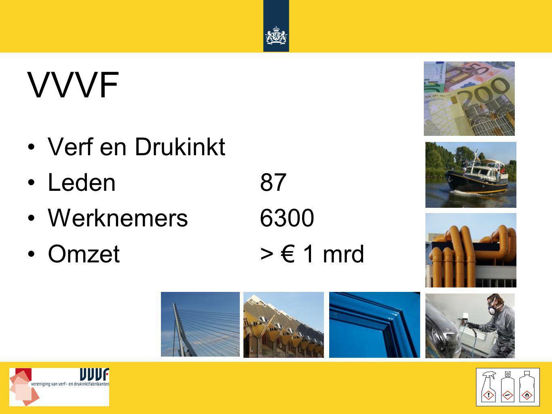 VVVF •Verf en Drukinkt •Leden87 •Werknemers6300 •Omzet> € 1 mrd