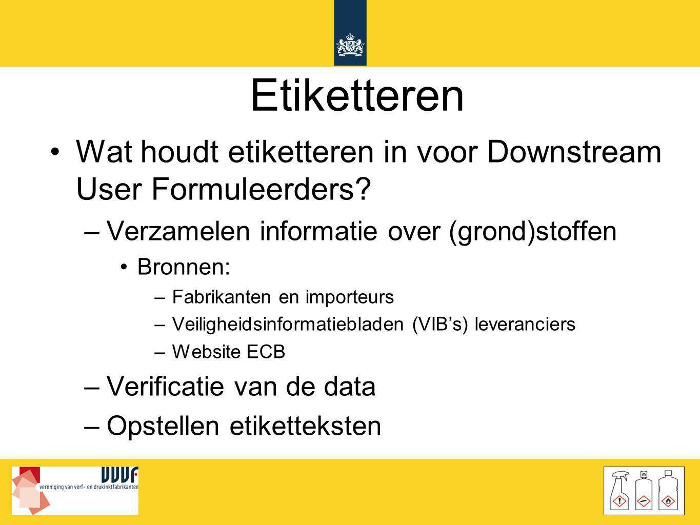 Etiketteren •Wat houdt etiketteren in voor Downstream User Formuleerders? –Verzamelen informatie over (grond)stoffen •Bronnen: –Fabrikanten en importe