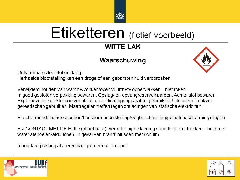 Etiketteren (fictief voorbeeld) WITTE LAK Waarschuwing Ontvlambare vloeistof en damp. Herhaalde blootstelling kan een droge of een gebarsten huid vero