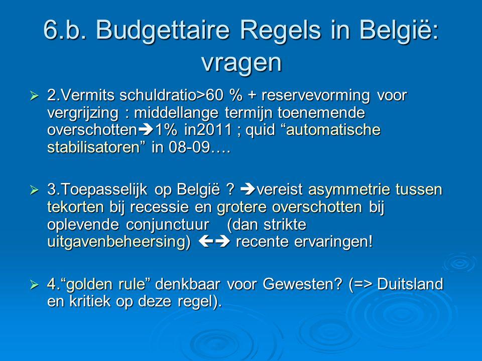6.b. Budgettaire Regels in België: vragen  2.Vermits schuldratio>60 % + reservevorming voor vergrijzing : middellange termijn toenemende overschotten