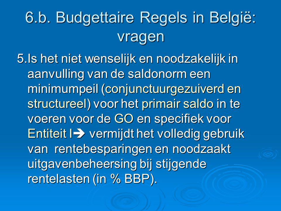 6.b. Budgettaire Regels in België: vragen 5.Is het niet wenselijk en noodzakelijk in aanvulling van de saldonorm een minimumpeil (conjunctuurgezuiverd