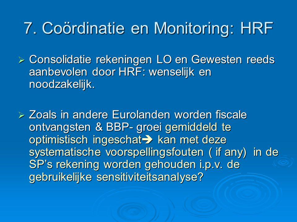7. Coördinatie en Monitoring: HRF  Consolidatie rekeningen LO en Gewesten reeds aanbevolen door HRF: wenselijk en noodzakelijk.  Zoals in andere Eur