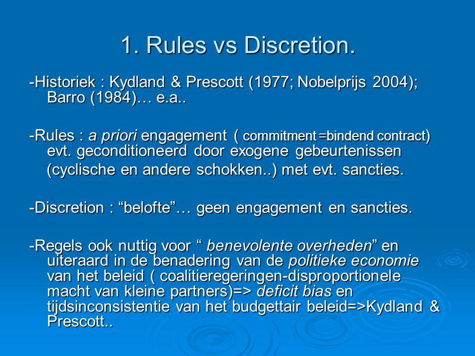 1. Rules vs Discretion. -Historiek : Kydland & Prescott (1977; Nobelprijs 2004); Barro (1984)… e.a.. -Rules : a priori engagement ( commitment =binden
