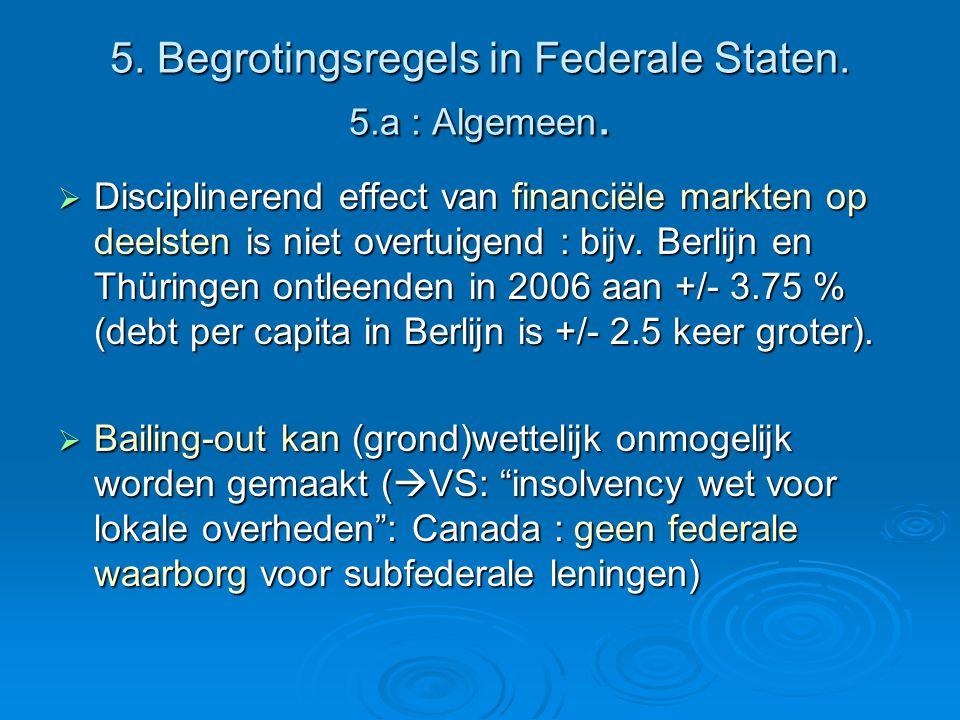 5. Begrotingsregels in Federale Staten. 5.a : Algemeen.  Disciplinerend effect van financiële markten op deelsten is niet overtuigend : bijv. Berlijn
