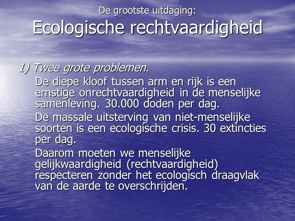 Ecologische rechtvaardigheid • CO2-uitstoot –Belg: 12 ton/jaar –Gemiddeld wereldburger: 5 ton/jaar –Maximum toegelaten (2030): <2 ton/jaar • Ecologische voetafdruk –Belg: 5 ha –Gemiddelde wereldburger: 2,2 ha –Maximum toegelaten: <1,8 ha