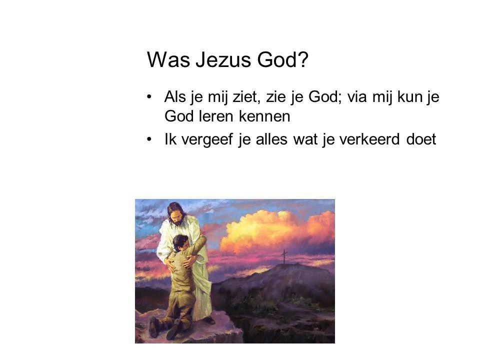 Was Jezus God? •Als je mij ziet, zie je God; via mij kun je God leren kennen •Ik vergeef je alles wat je verkeerd doet