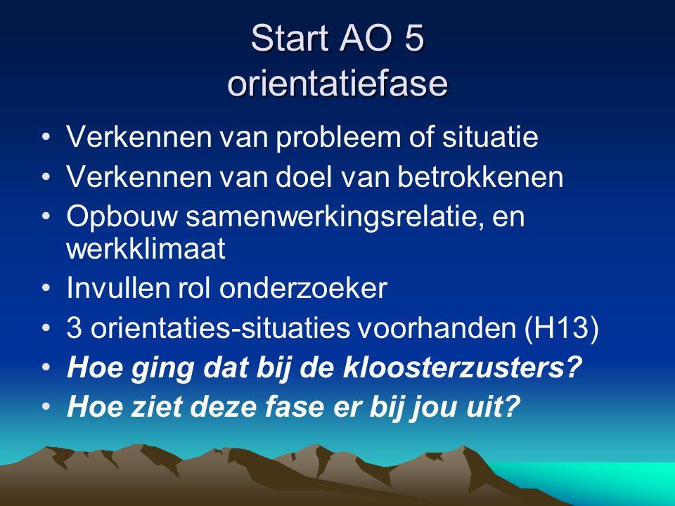 Start AO 5 orientatiefase •Verkennen van probleem of situatie •Verkennen van doel van betrokkenen •Opbouw samenwerkingsrelatie, en werkklimaat •Invullen rol onderzoeker •3 orientaties-situaties voorhanden (H13) •Hoe ging dat bij de kloosterzusters.