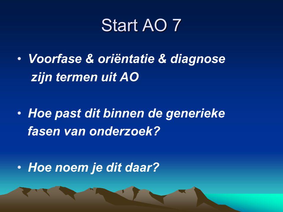 Start AO 7 •Voorfase & oriëntatie & diagnose zijn termen uit AO •Hoe past dit binnen de generieke fasen van onderzoek.