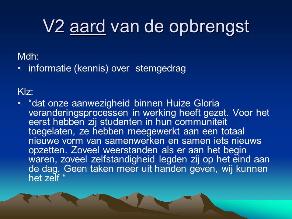 V2 aard van de opbrengst Mdh: •informatie (kennis) over stemgedrag Klz: • dat onze aanwezigheid binnen Huize Gloria veranderingsprocessen in werking heeft gezet.