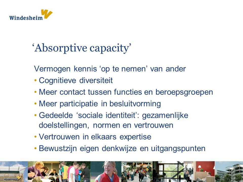 'Absorptive capacity' Vermogen kennis 'op te nemen' van ander •Cognitieve diversiteit •Meer contact tussen functies en beroepsgroepen •Meer participatie in besluitvorming •Gedeelde 'sociale identiteit': gezamenlijke doelstellingen, normen en vertrouwen •Vertrouwen in elkaars expertise •Bewustzijn eigen denkwijze en uitgangspunten