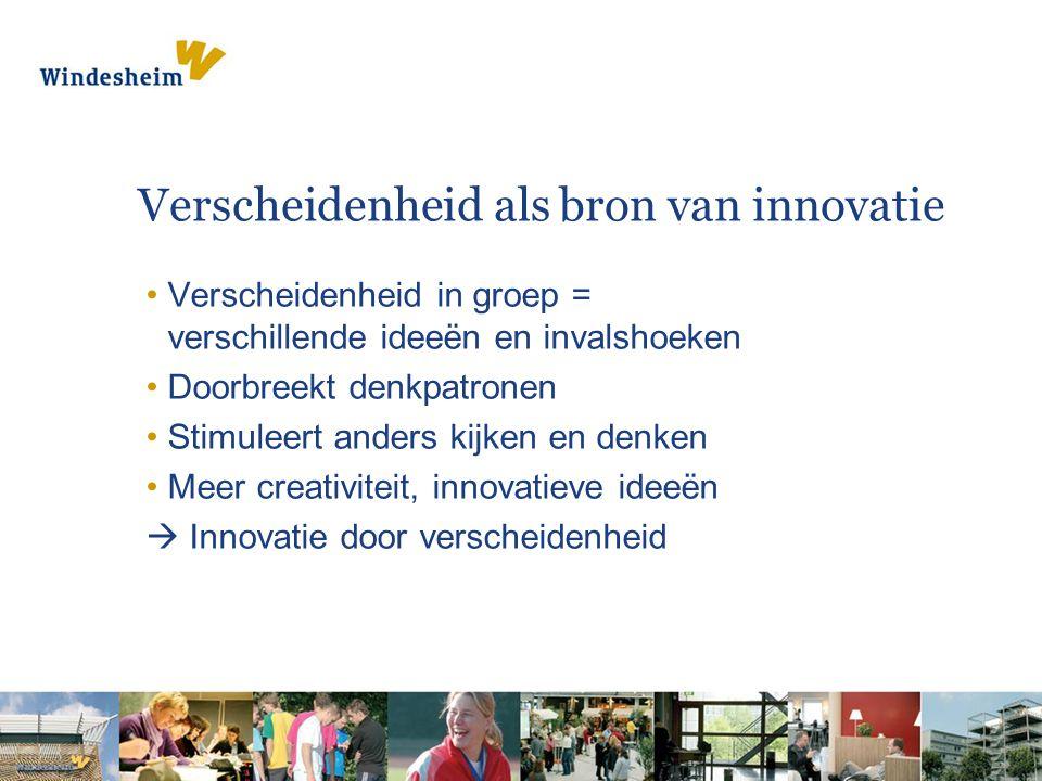 Verscheidenheid als bron van innovatie •Verscheidenheid in groep = verschillende ideeën en invalshoeken •Doorbreekt denkpatronen •Stimuleert anders kijken en denken •Meer creativiteit, innovatieve ideeën  Innovatie door verscheidenheid