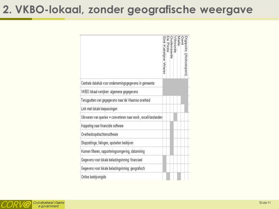 Coördinatiecel Vlaams e-government Slide 11 2. VKBO-lokaal, zonder geografische weergave