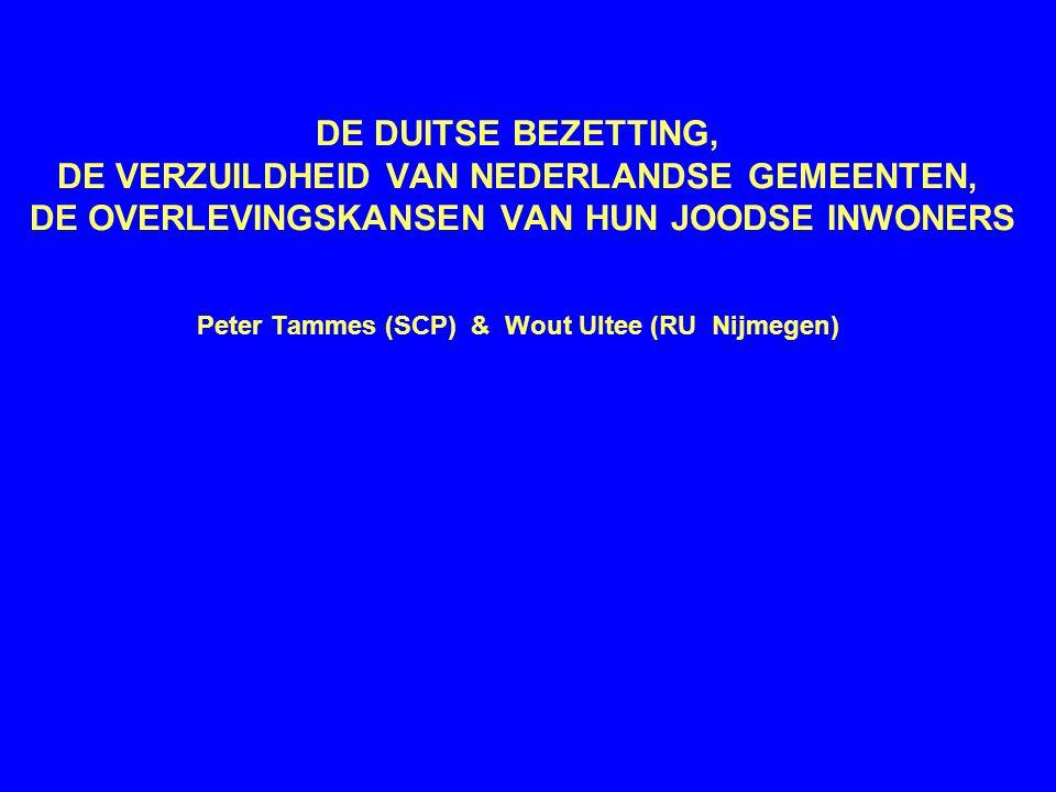 Historisch onderzoek •In hoeverre verkleinde de verzuildheid in Nederlandse gemeenten de overlevingskans van joden in 1940-1945.