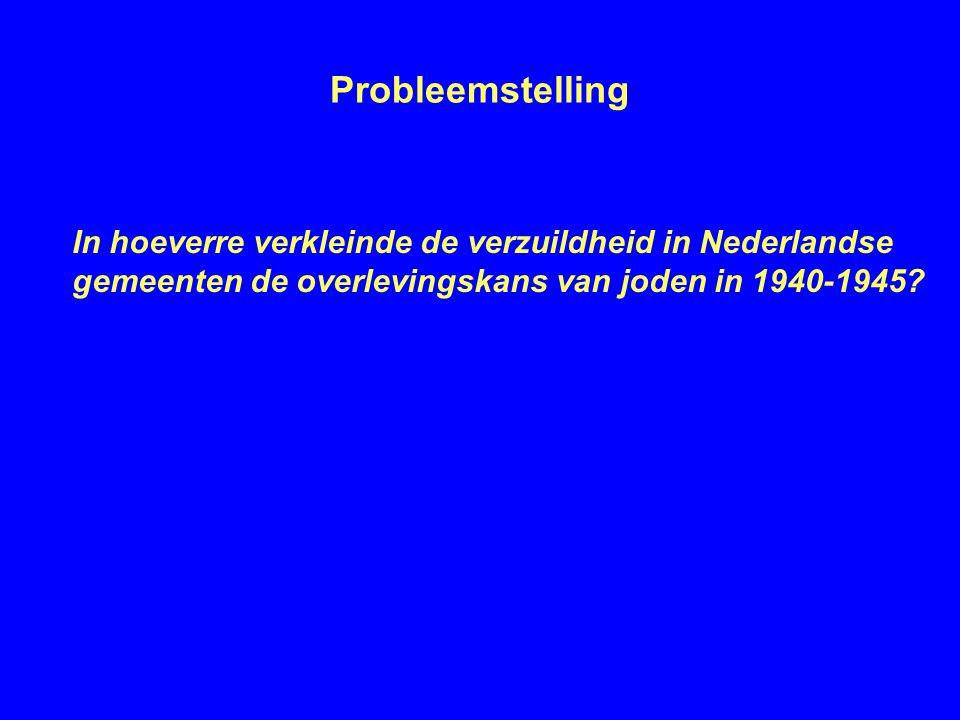Probleemstelling In hoeverre verkleinde de verzuildheid in Nederlandse gemeenten de overlevingskans van joden in 1940-1945?