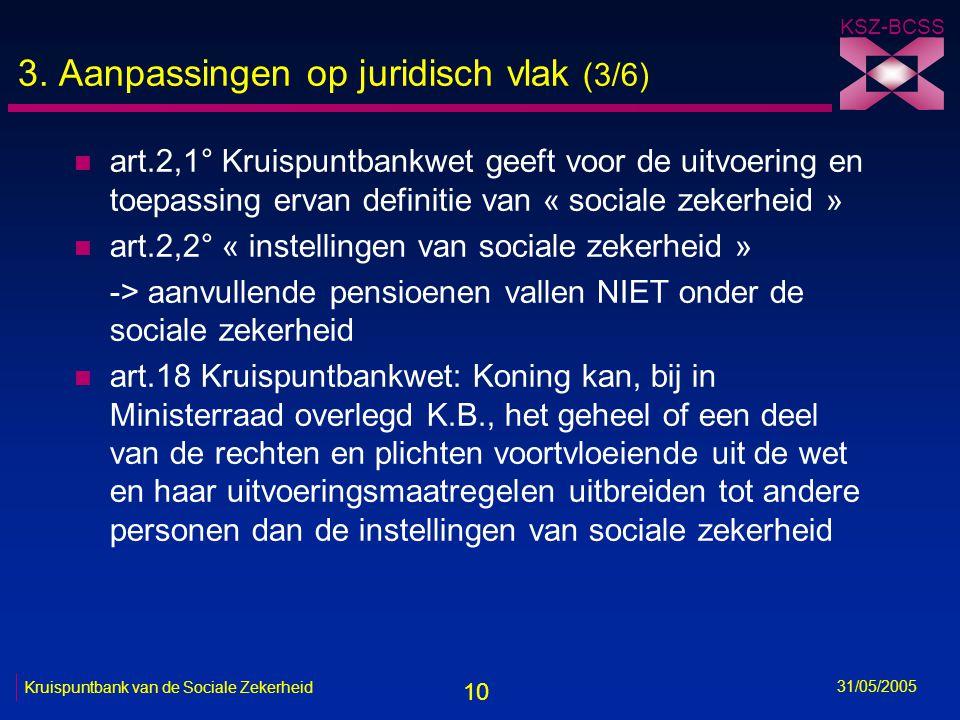 10 KSZ-BCSS 31/05/2005 Kruispuntbank van de Sociale Zekerheid 3. Aanpassingen op juridisch vlak (3/6) n art.2,1° Kruispuntbankwet geeft voor de uitvoe