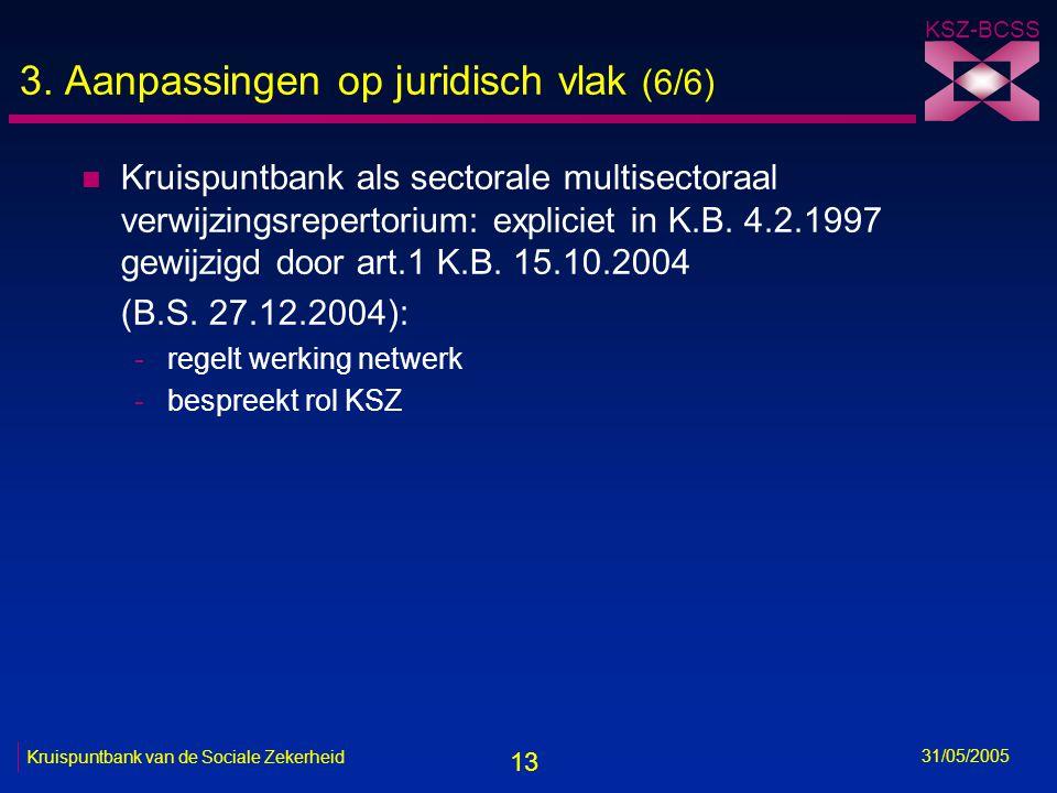 13 KSZ-BCSS 31/05/2005 Kruispuntbank van de Sociale Zekerheid 3. Aanpassingen op juridisch vlak (6/6) n Kruispuntbank als sectorale multisectoraal ver