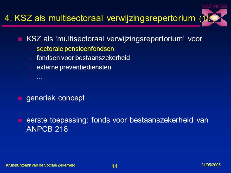 14 KSZ-BCSS 31/05/2005 Kruispuntbank van de Sociale Zekerheid 4. KSZ als multisectoraal verwijzingsrepertorium (1/7) n KSZ als 'multisectoraal verwijz