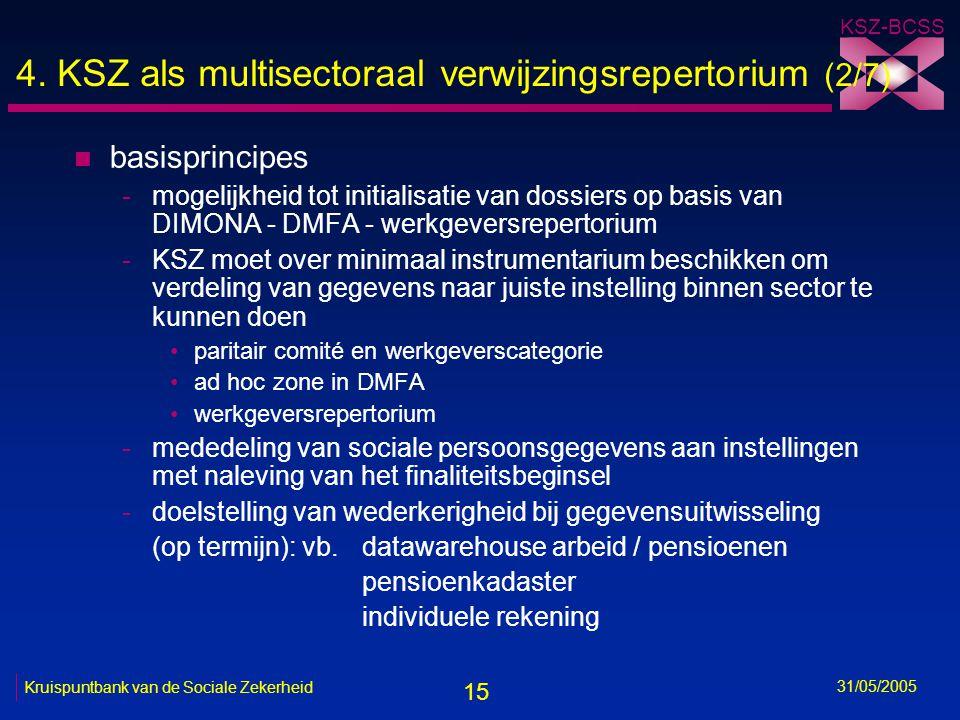 15 KSZ-BCSS 31/05/2005 Kruispuntbank van de Sociale Zekerheid 4. KSZ als multisectoraal verwijzingsrepertorium (2/7) n basisprincipes -mogelijkheid to