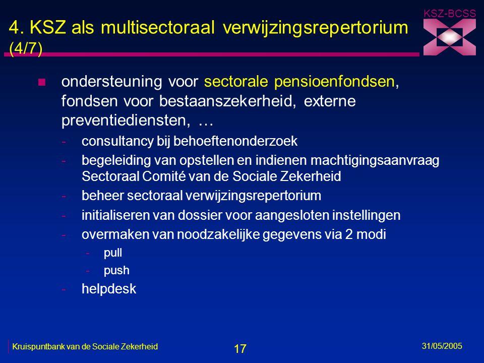 17 KSZ-BCSS 31/05/2005 Kruispuntbank van de Sociale Zekerheid 4. KSZ als multisectoraal verwijzingsrepertorium (4/7) n ondersteuning voor sectorale pe
